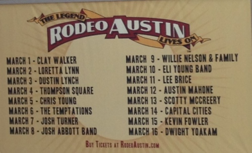 Austin 2014 Rodeo Concert Line Up